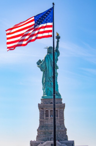lady liberty with american flag